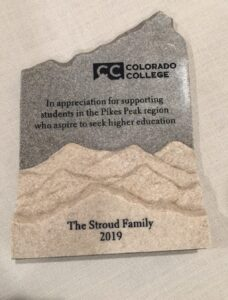 Stroud Scholars Plaque Gift from Colorado College